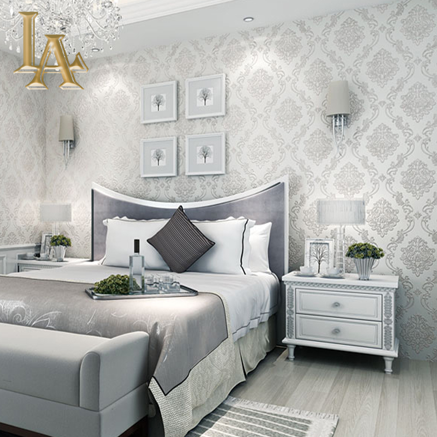 Classic European Style Wall papers Home Decor embossed 3D Damask Wallpaper Roll Bedroom Living Room Sofa TV Background 3d european style home decor wall sticker