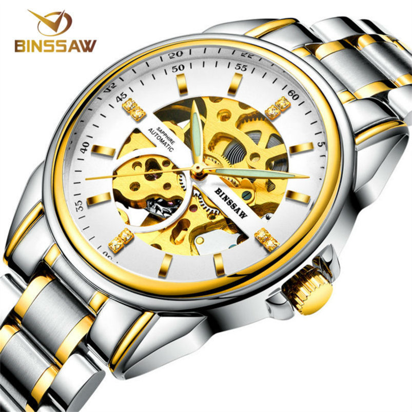 BINSSAW Skeleton Stainless steel Strap Silver Case Transparent Case Men Watch Top Brand Luxury luminous Mechanical