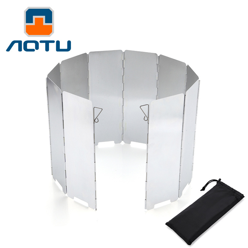 AOTU 10 Plates Foldable Outdoor Camping Cooking Cooker Gas Stove Wind Shield Screens Aluminium Alloy Windshield +Protecting Bag