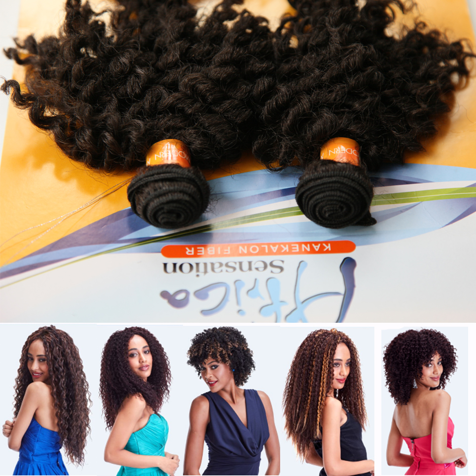 Jazz Wave Synthetic Hair Extensions Short Kinky Curly Weave Weft 55
