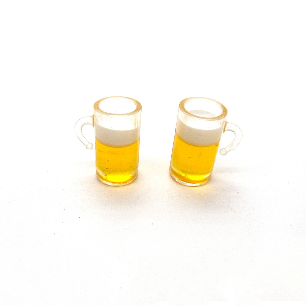 2Pcs 1/12 Dollhouse Miniature Accessories Mini Beer Mug  Simulation Miniature Drink Furniture For Doll Home Decoration