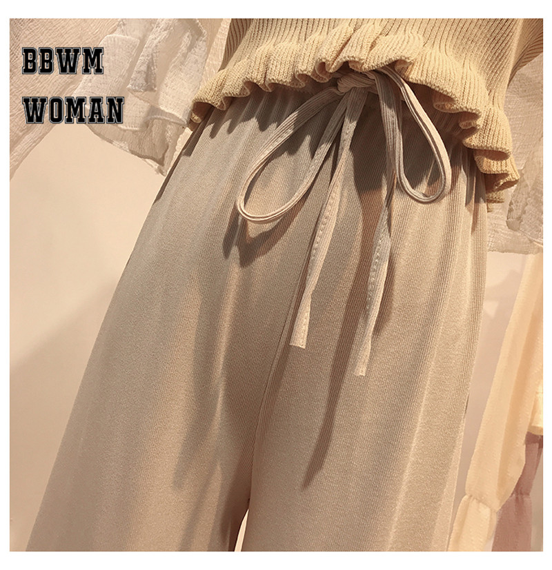 Korean Summer Ice Silk Knit High Waist Wide Leg Pants Ankle Length Straight Casual Fashion Trousers ZO437 43