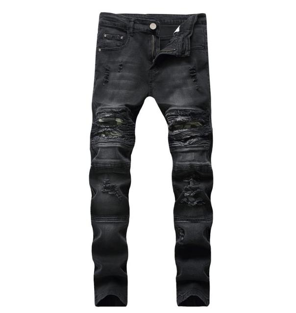 Mens Black Camouflage Patches Jeans Skinny Ripped Motorcycle Biker Jeans For Men High stretch Size 28-42