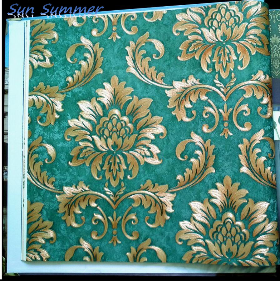 Vintage Damask Wallpaper Background Wallpaper Vintage Coffee Deep Green Wallpaper In Wallpapers From Home Improvement On Aliexpress Com Alibaba Group