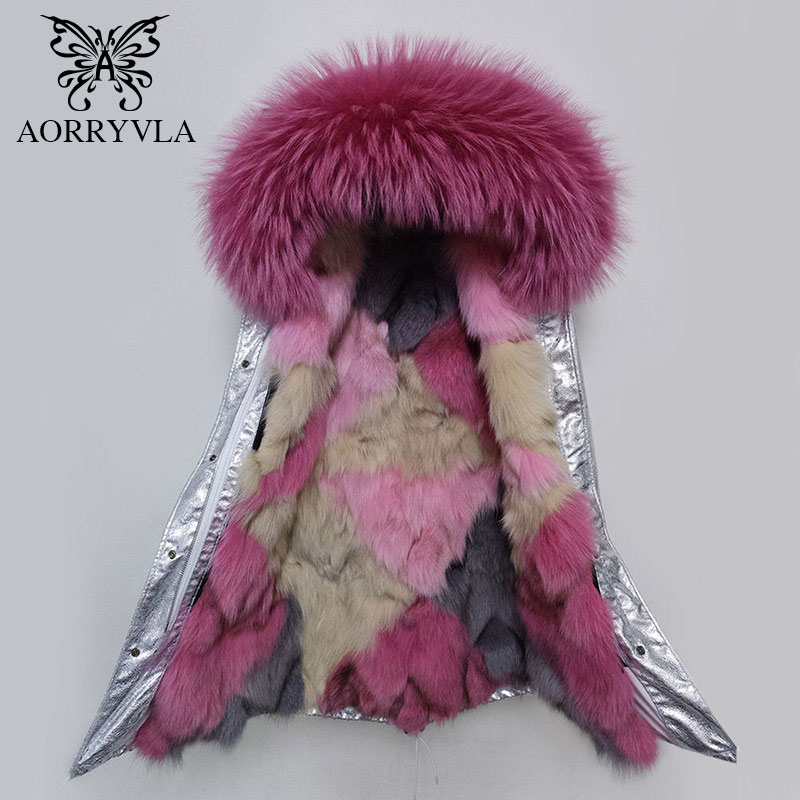 AORRYVLA 2018 New Winter Long   Parka   Women Natural Raccoon Fur Collar Hooded With Luxury Fox Fur Liner Female Thick Warm Jacket