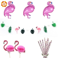 1Set Flag Garland Foil Balloons Cupcake Toppers Paper Straws Flamingo Party Decoration Swimming Pool Hawaiian Party