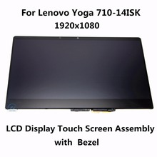 Novo original para lenovo yoga 710-14isk 80ty laptop lcd screen display substituição digitador assembléia + moldura do painel de toque de vidro