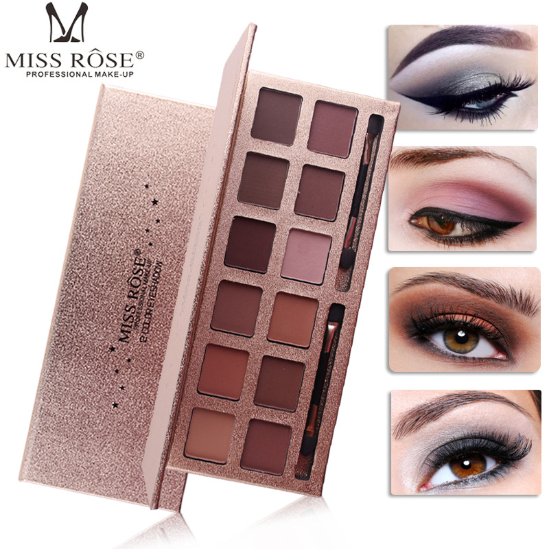 MISS ROSE Brand Makeup Eye Shadow Palette Shimmer Matte Eyeshadow Palette With Makeup Brush Professional Cosmetics 12 Colors eye shadow