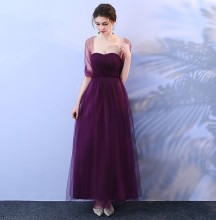 Wedding Party Dress  Bridesmaid Dresses  Grape Purple Formal  Dress Empire Back of Bandage v neck red bean pink colour above knee mini dress satin dress women wedding party bridesmaid dress back of bandage