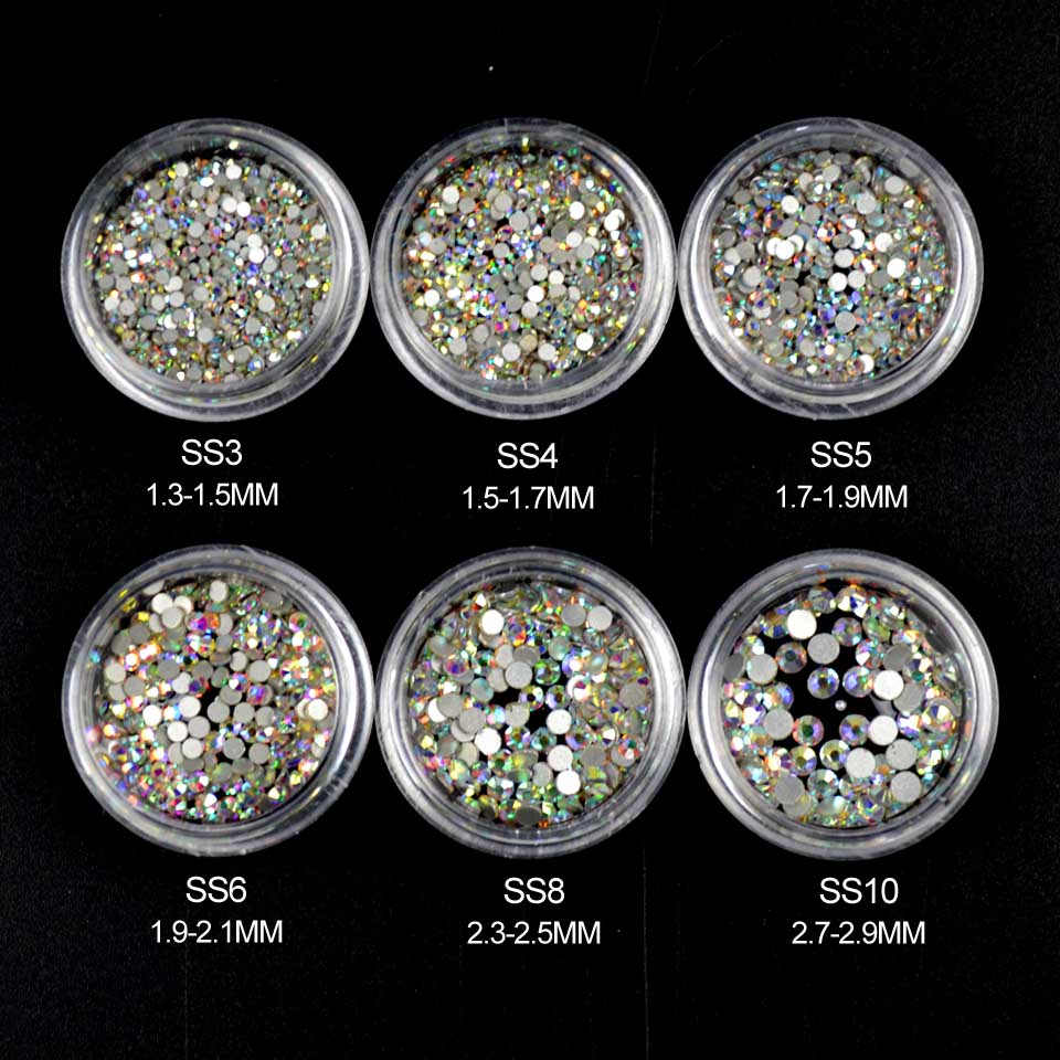 AB Rhinestones for Nails Design Crystal Glass Rhinestones on Nails Glass 3D Strass Nail Art Decoration Gems Manicure MJZ1024 ab rhinestones for nails glass mix size clear strass nail art decorations 3d nail rhinestones on nails art manicure mjz00280