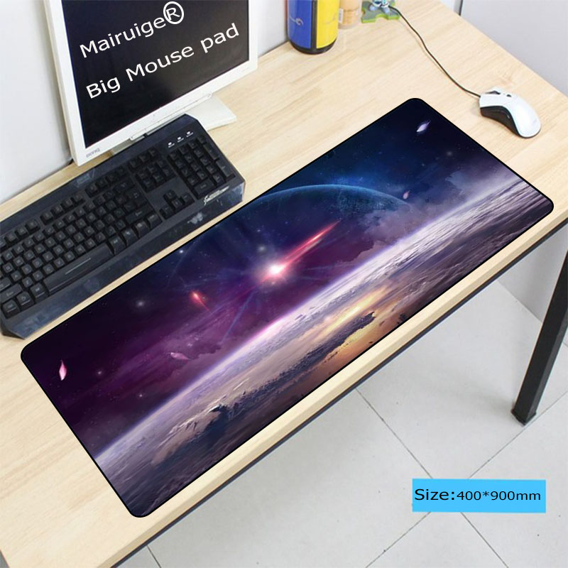 Mairuige Blue Purple Space Universe Keyboard Gaming Large Lock Edge MousePads Size 30X60CM 30X80CM 40X90CM Computer Mouse Mat in Mouse Pads from Computer Office