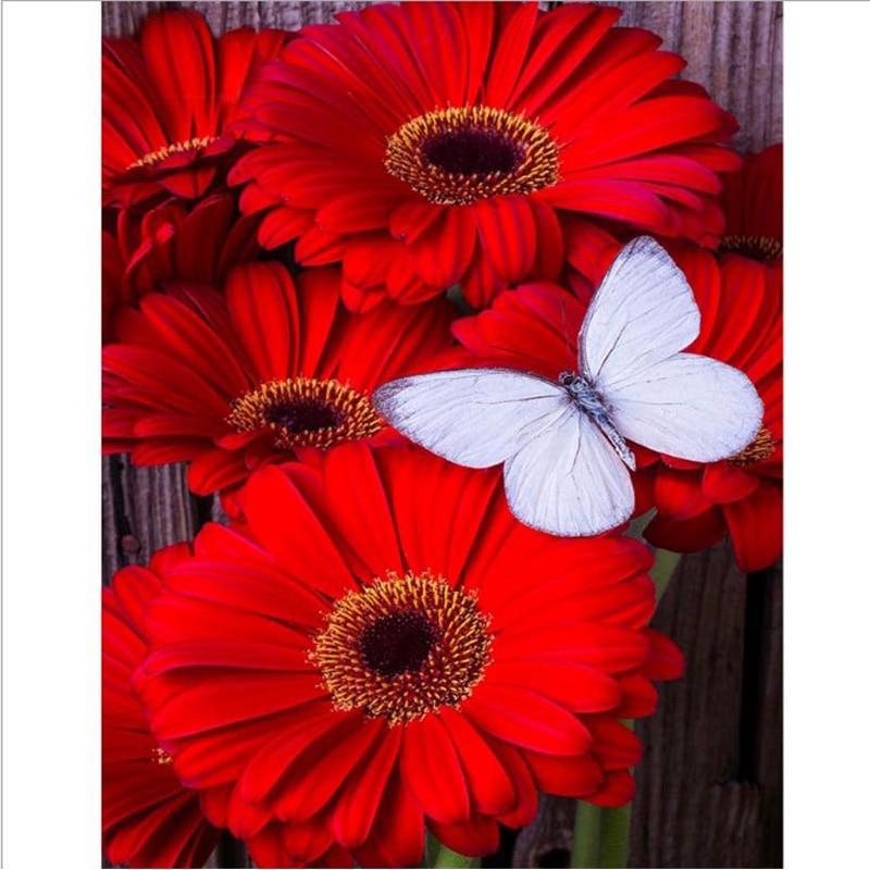 flower DIY 5D diamond painting flower diamond embroidery red flowers white butterfly full rhinestones mosaic painting diamonds