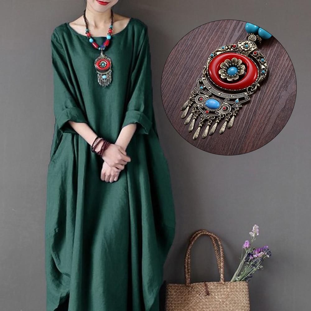 Bohemian Ethnic Wood Necklace Tibet Vintage Metal Beads Maxi Pendant Necklaces Women Accessories Clothes Dress Boho Jewelry