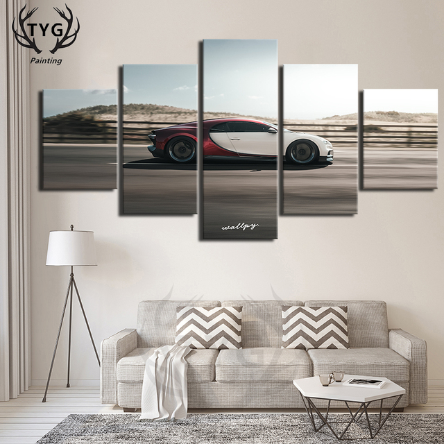5 Pieces Classic Car Scene Decoration Canvas Paintings Decoration Poster Art On The Wall Living Room Room TYG Framework Prints