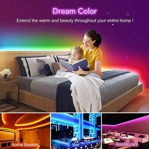 Image 3 - 5 20m Kit WS2811 striscia LED digitale 12V Dream Color 30LEDs RGB LED Strip Light Set con adattatore di alimentazione Controller musicale SP106E
