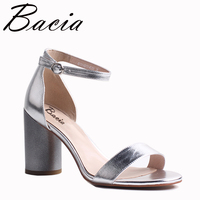 Bacia Full Grain Leather Sandals 2017 New Strange Style Heels Silver Black Strap Women High Pumps