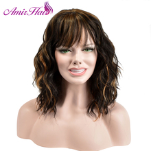 Amir Kıvırcık Kadın Orta Kısmı Cosplay Peruk Yüksek Sıcaklık Fiber Sentetik Saç Kahverengi renk karışımı Orta uzunlukta Çünkü Saç Parçaları