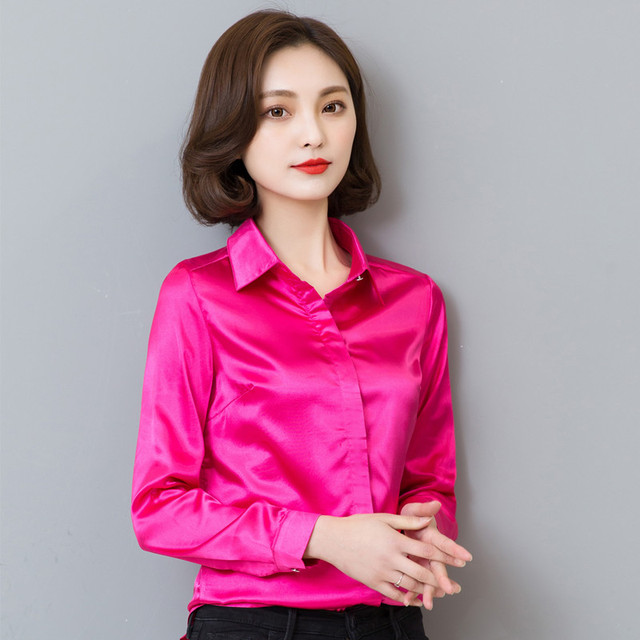 193aa87c5be0a new arrival 2018 hot sale Spring and fall female casual silk blouse slim  body women silk shirt plus size busas 103B 25