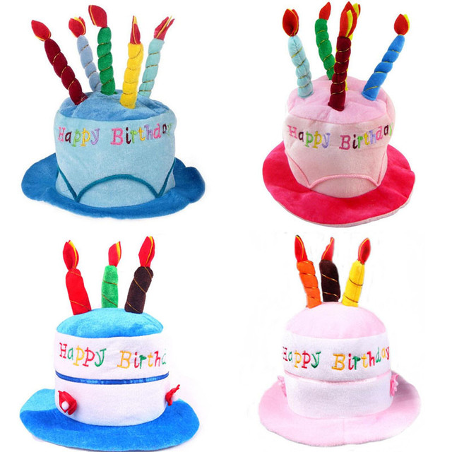 Pink Blue Birthday Cake Cap Hat Candles Caps Kids Adults Party Head Supplies Halloween