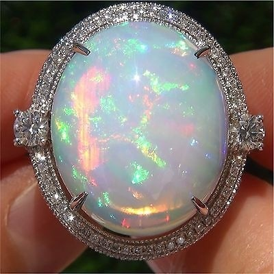 Bamos Unique Boho Big Finger Ring Vintage White Fire Opal Stone Ring Fashion Wedding title=