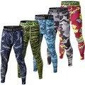 Pantalones de compresión para hombre 2016 nuevos mallas cruzadas para hombre Pantalones de culturismo pantalones de camuflaje
