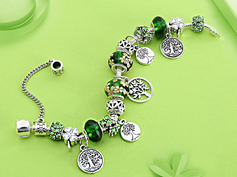 Dropshipping HOT Silver Tree of Life Fashion Bead Bracelet Green Leaf Floral Crystal Charms Bracelet & Bangle Pulsera Jewelry 2