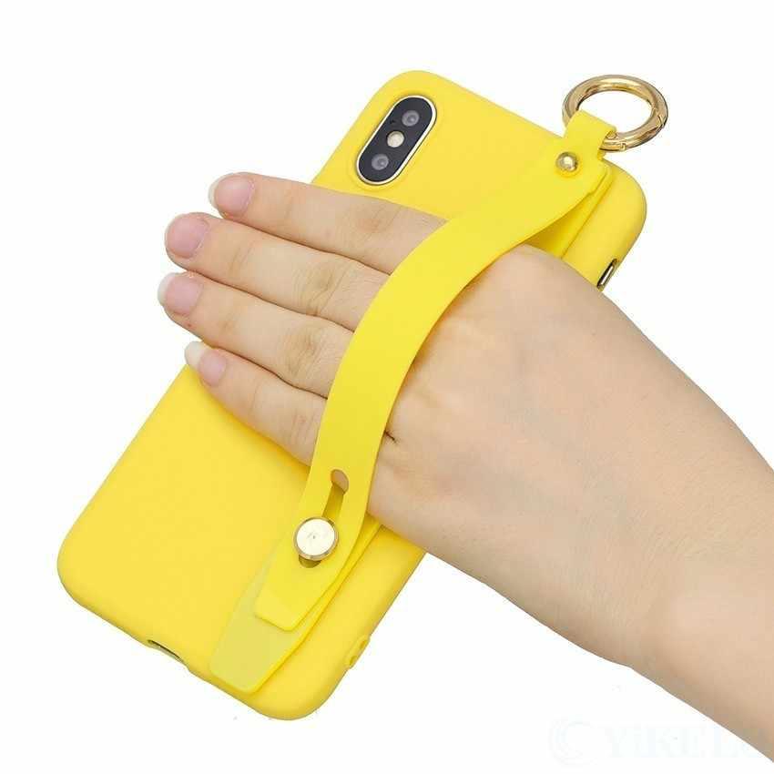 สี Candy Soft TPU สำหรับ iPhone 6 6 S 7 8 Plus X XS XR สูงสุดสายคล้องข้อมือผู้ถือโทรศัพท์กลับปก Fundas Couqe สำหรับ iPhoneXR