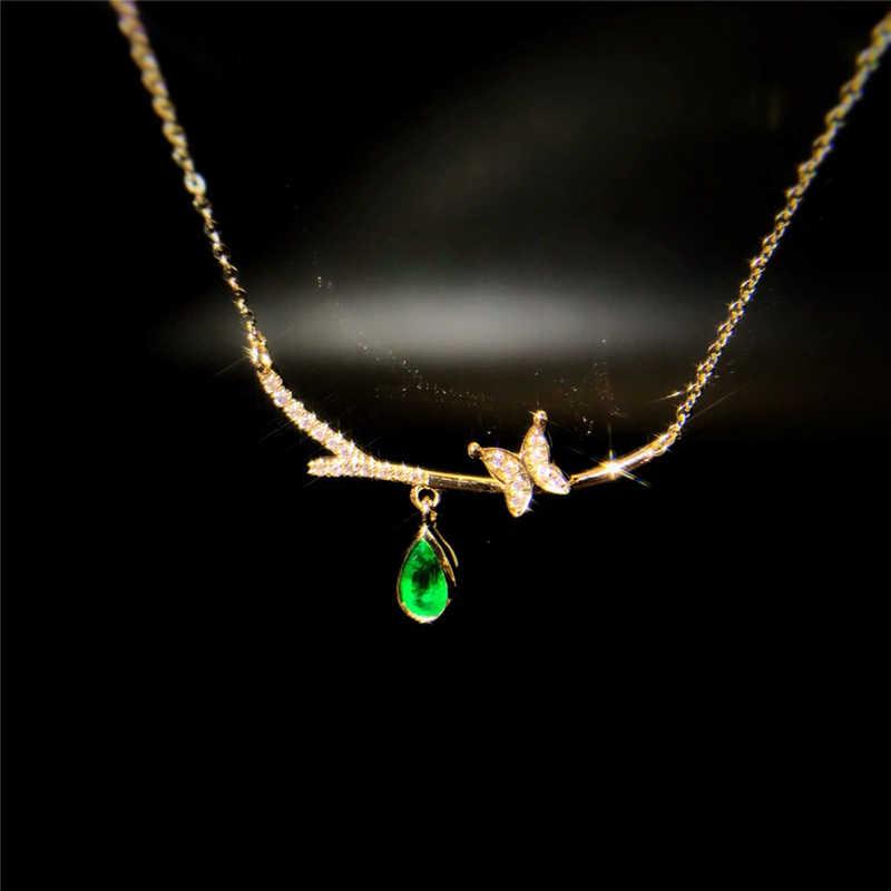 Aazuo 18 พันสีเหลืองทองธรรมชาติ Water Drop Emerald จริงเพชรผีเสื้อจี้สร้อยคอที่มีพรสวรรค์สำหรับผู้หญิง Valentine's Day au750