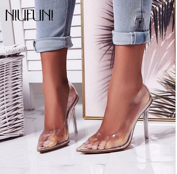 Где купить Женские туфли-лодочки, прозрачные летние туфли на высоком каблуке с острым закрытым носком, большие размеры 35-42, 2020