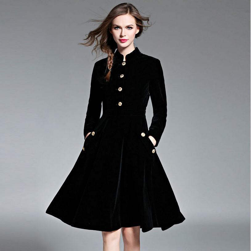 Famous Brand Silk Velvet Dress European Station Autumn And