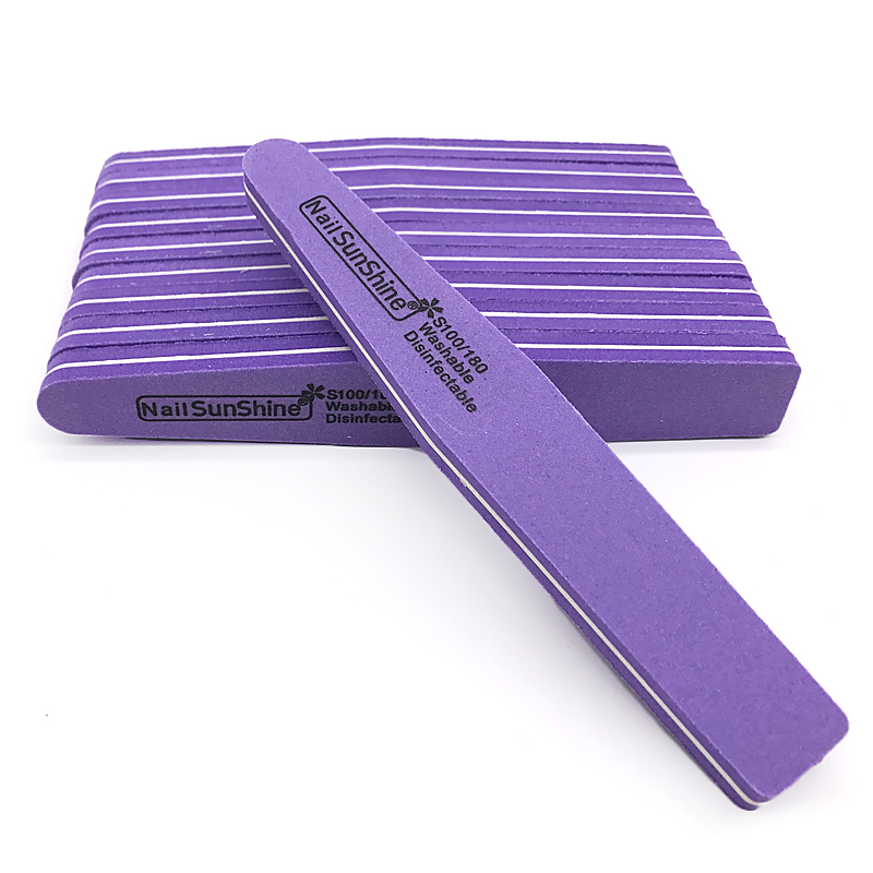 25 50pcs Pro Nail File 100 180 Purple Nail Sanding Buffer Block Emery Board Washable Sandpaper Double Side Manicure Care Tool in Nail Files Buffers from Beauty Health