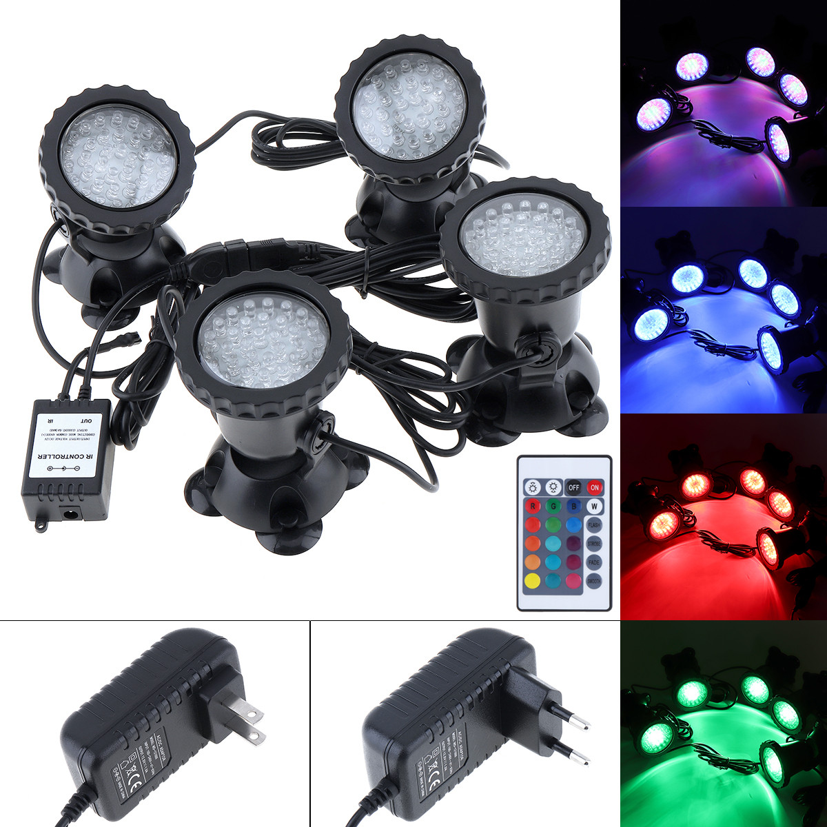Waterproof 4 Lights LED Outdoor Landscape Spotlights Water Grass Fill Spot Light with Remote Control for