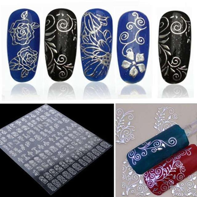 3D Nail Art Stickers Metallic Flowers Designs
