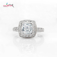 COLORFISH 925 Sterling Silver Bezel Set 1 5 Ct Halo Engagement Ring Luxury Women Wedding Jewelry