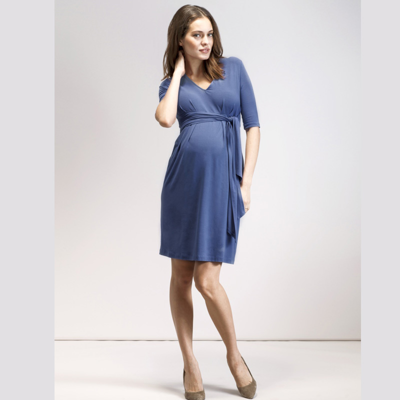 High Elastic Tencel V-Neck Dress+Sashes for Pregnancy O-Neck Maternity Dresses Clothes Elegant Blue A-Line Office Women Vestidos