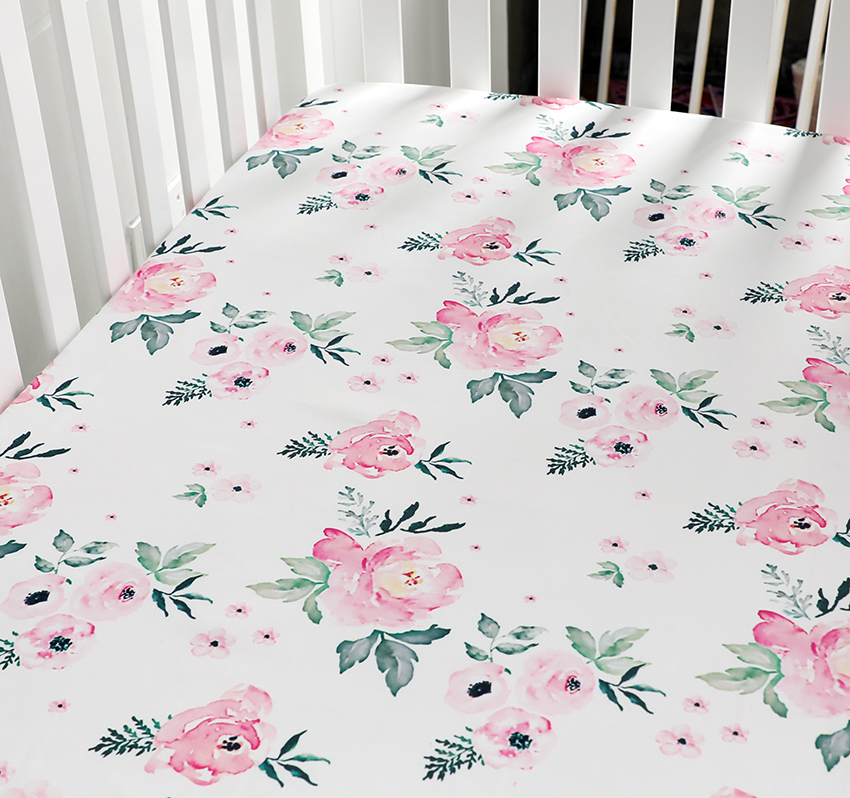 Baby Floral Fitted Crib Sheet Girl's Bed Mattresses Fits Standard Crib 28*52 Inches (Pink Floral)