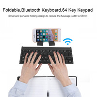 Wireless Foldable Bluetooth Keyboard Mini 64 Key Keypad for Tablet Laptop