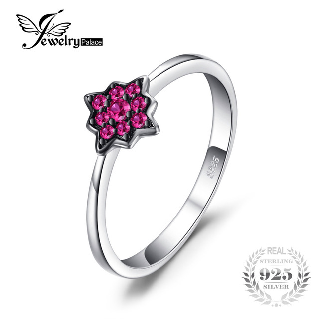 Fashion Flowers Created Ruby Rings 100% Real 925 Sterling-Silver-Jewelry For Women