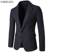 Mens Wool Blend Suit Blazer Jacket 2018 Fashion Notched Lapel Single Breasted One Button Woolen Blazers Men Casual Party Outwear