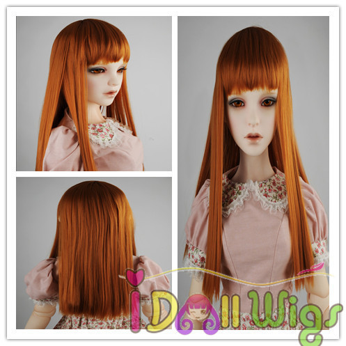 Free Shipping High quality Baby Born Korea synthetic orange long straight BJD SD doll hair wig 1/3 1/4 1/6 for choose long side parting straight colormix synthetic lace front wig