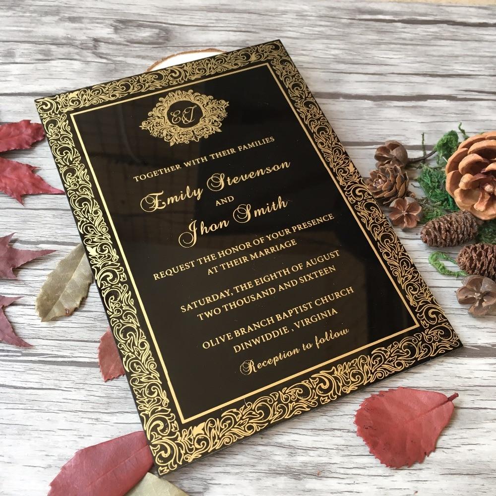 customized sample for 5x7inch black acrylic wedding