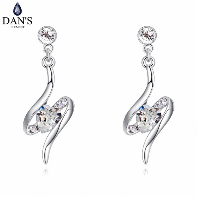 DANS 6 Colors Real Austrian crystals Stud earrings for women Earrings s New Sale Hot Round 129538