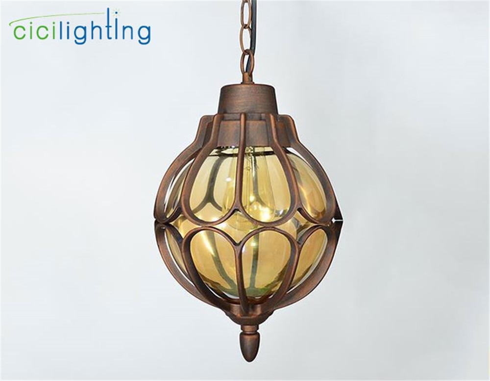 1 шт., европейский стиль, уличный светильник, винтажный подвесной светильник, наружный водонепроницаемый подвесной светильник, наружный ландшафтный светильник ing - Испускаемый цвет: redbronze