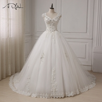 ADLN Luxury Wedding Dresses Beautiful Cap Sleeve Crystals Beaded Applique Bride Wedding Gowns Cheap Plus Size