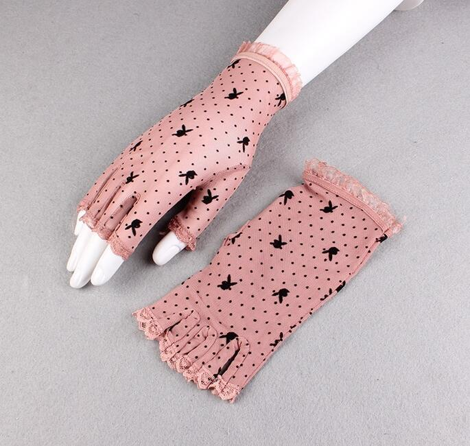 Women's Summer Fingerless Sunscreen Black Mesh Gloves Female Uv Protection Breathable Sexy Perspective Lace Driving Glove R1133