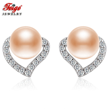 FEIGE Fashion Heart Earrings Real 925 Silver Stud 6-7mm Pink Natural Freshwater Pearl Earring for Women Fine Jewelry