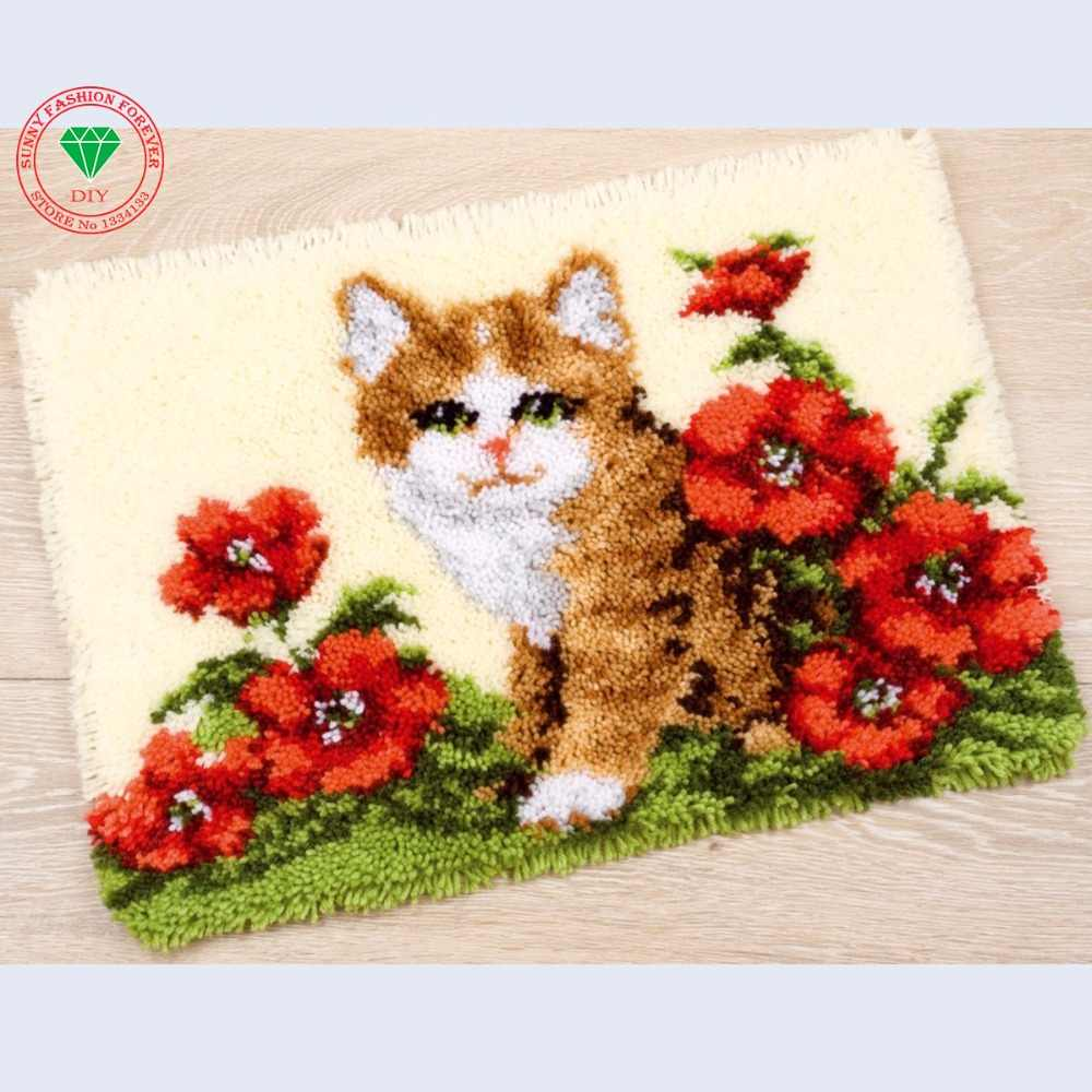 Hobi Latch kait karpet kit Kucing karpet Kain Perca karpet Merajut Menjahit cross-stitch Karpet bordir stitch benang bantal
