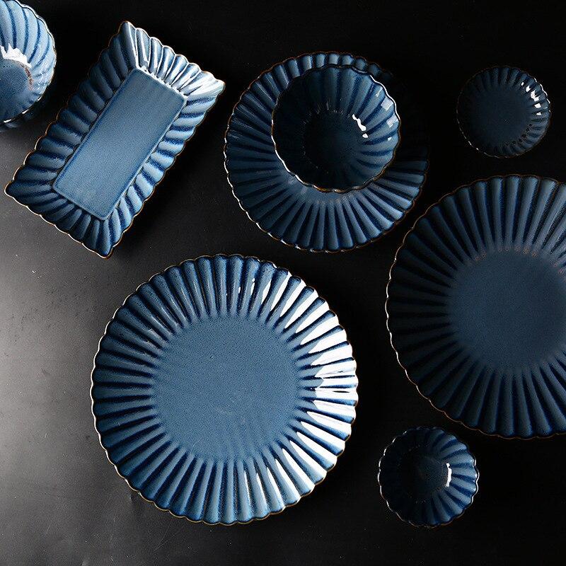 Nordic simple but elegant ceramic dinnerware set Fambe glaze retro chrysanthemum ceramic tableware plate household dish