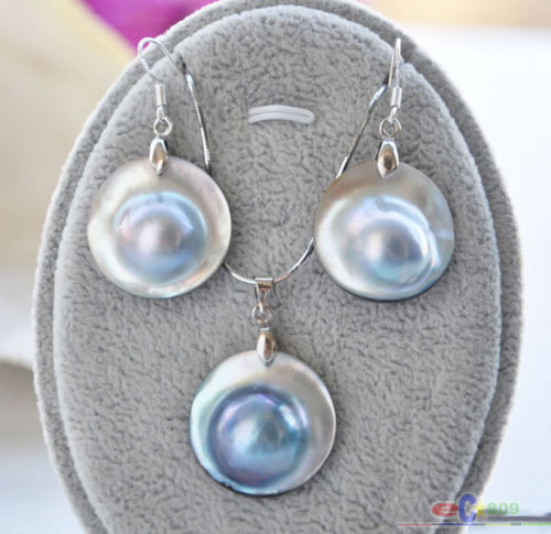 22MM GRAY SOUTH SEA MABE PEARL PENDANT EARRING