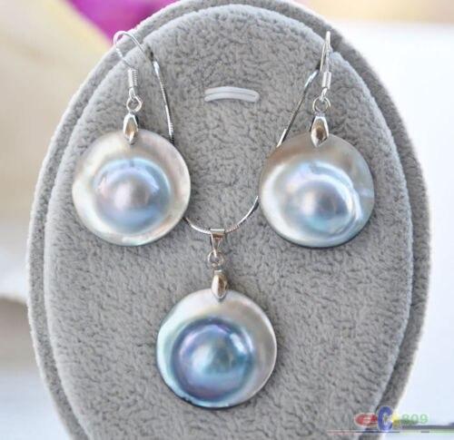 22 MM gris mer du sud MABE perle pendentif & boucle d'oreille-in Parures de bijoux from Bijoux et Accessoires    1